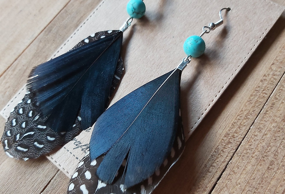 Natural feather earrings