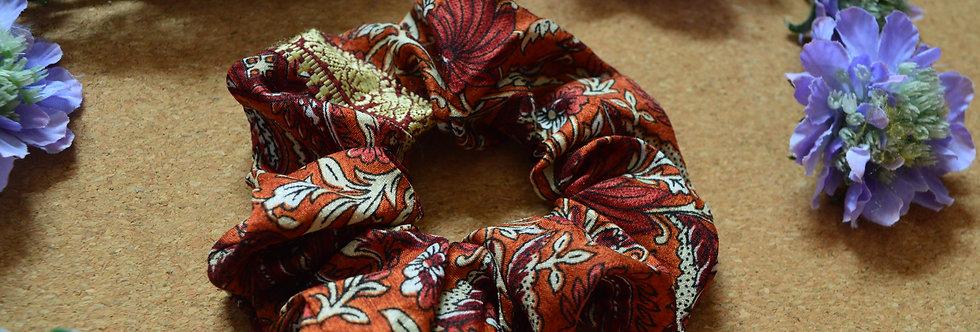 autumn sari silk scrunchie