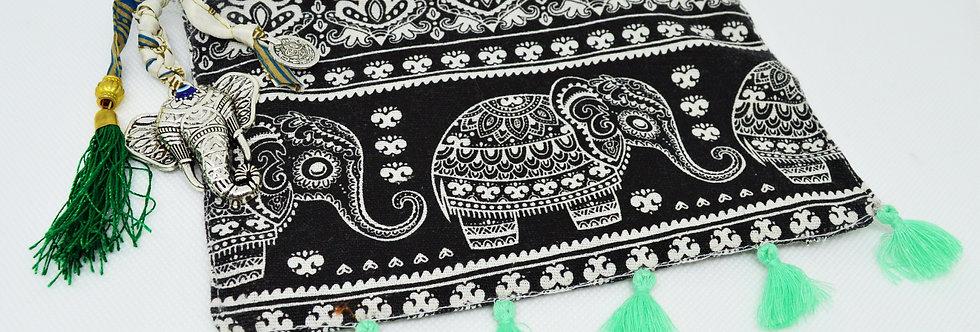 Mint green elephant makeup bag