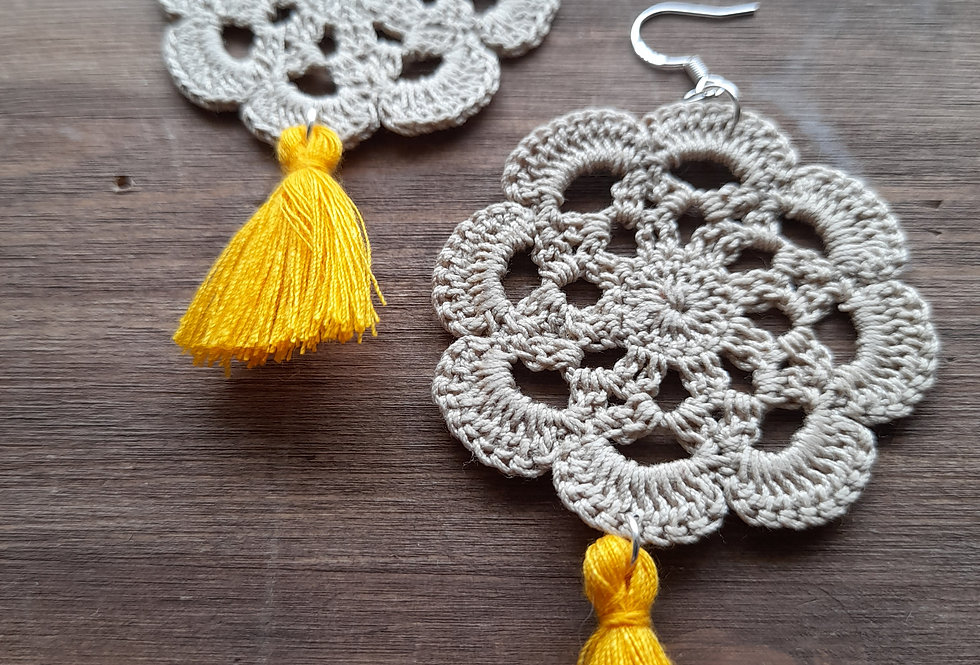 Tassel crochet 925 silver earrings
