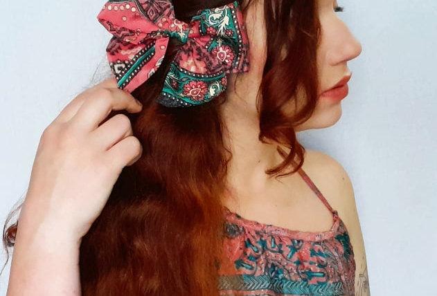 coral pink sari hair bow