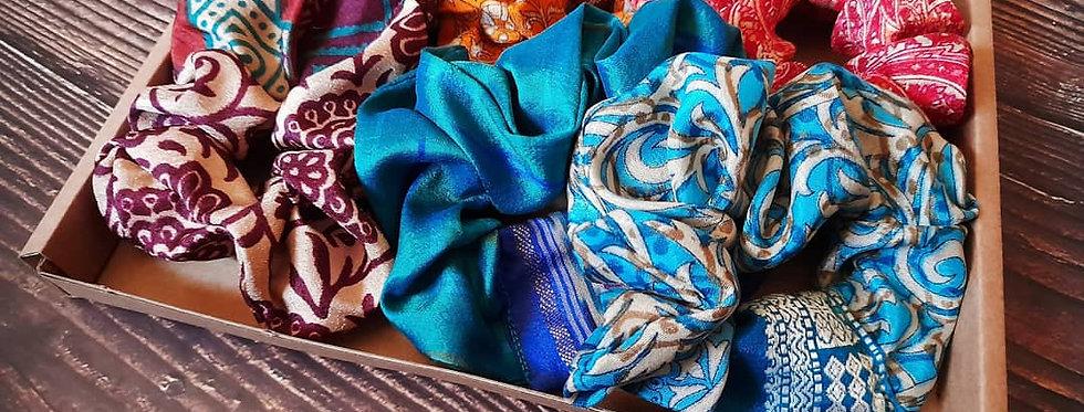 Sari silk scrunchies box
