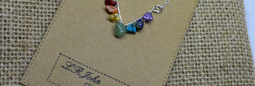 chakra Gemstone V wrapped necklaces