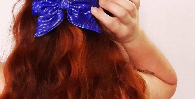 Royal blue sari hair bow