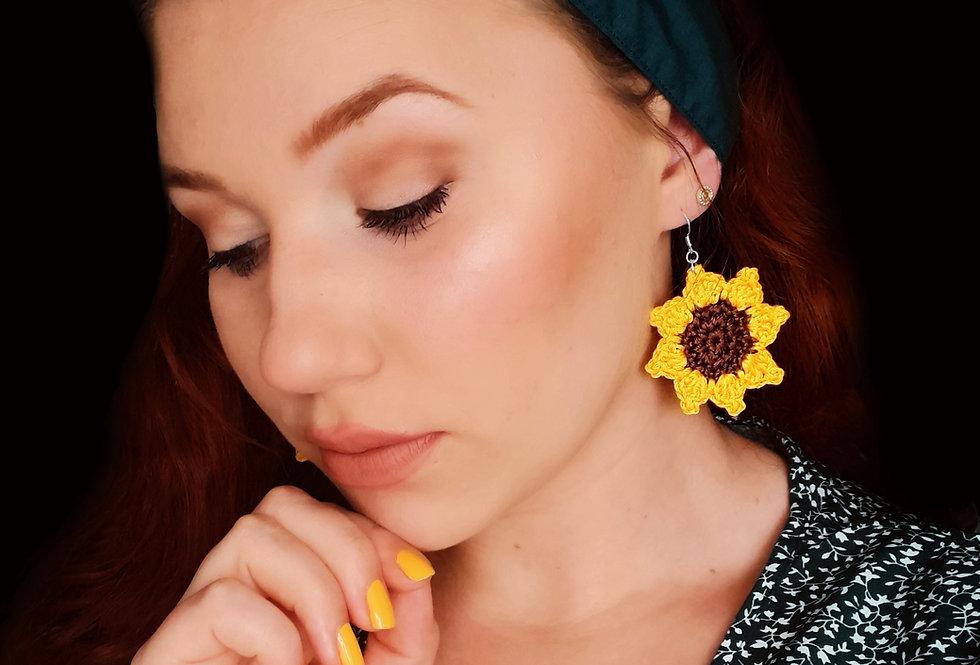 Crochet sunflower 925 silver earrings