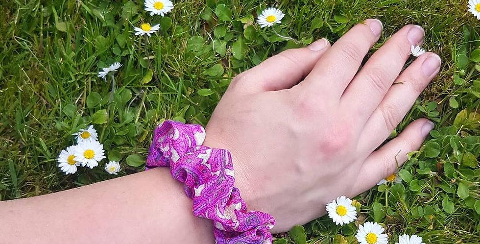 pink & purple sari scrunchie