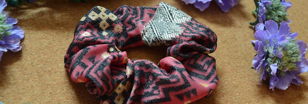 coral pink sari silk scrunchie