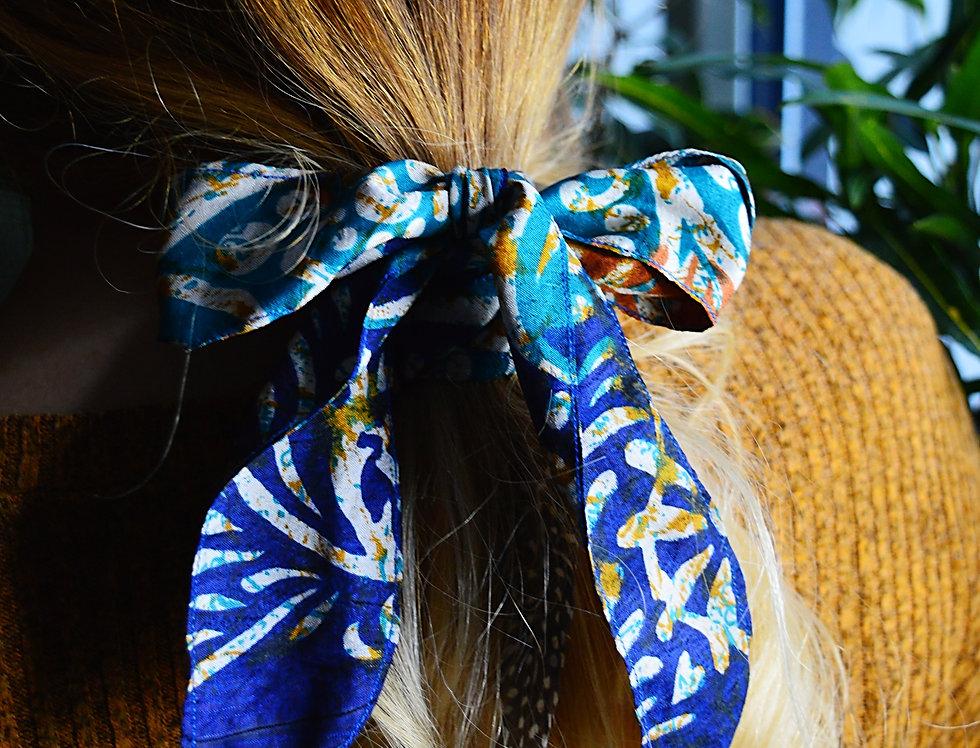 Blue sari hair ribbon