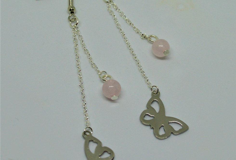 Rose quartz butterfly earrings