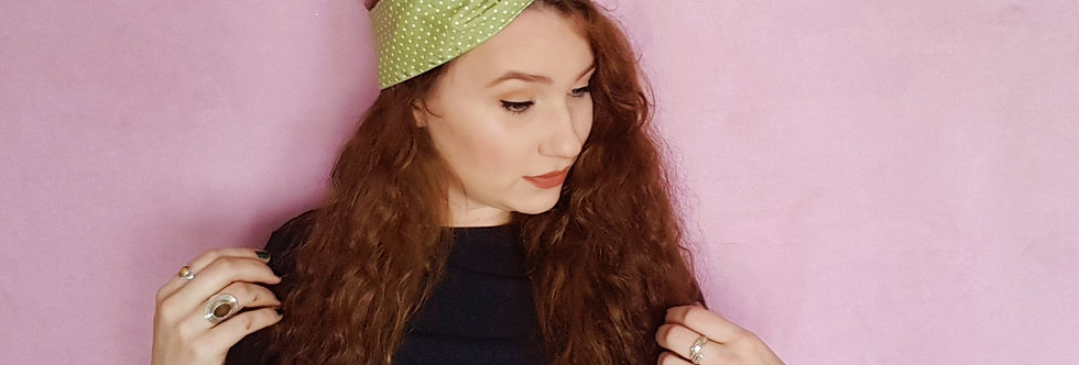 sage polka dot wire headband