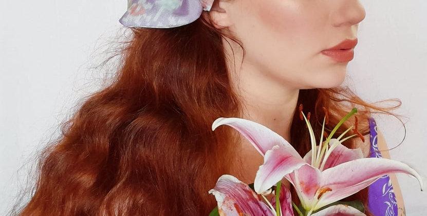 lilac sari hair bow
