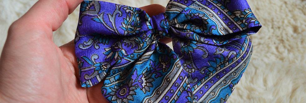 Purple hue sari hair bow