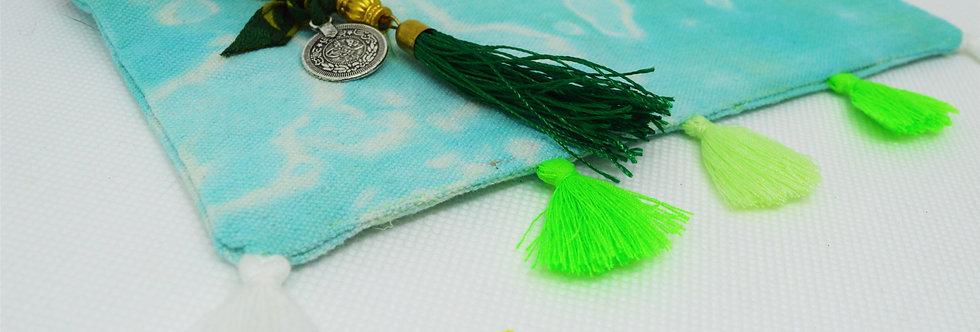 Blue & green tassel makeup bag