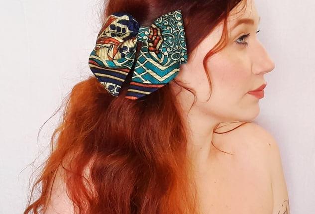 Teal & Brown sari hair bow