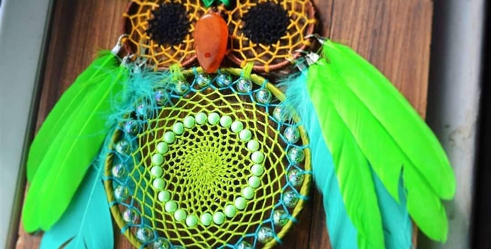 green owl dreamcatcher