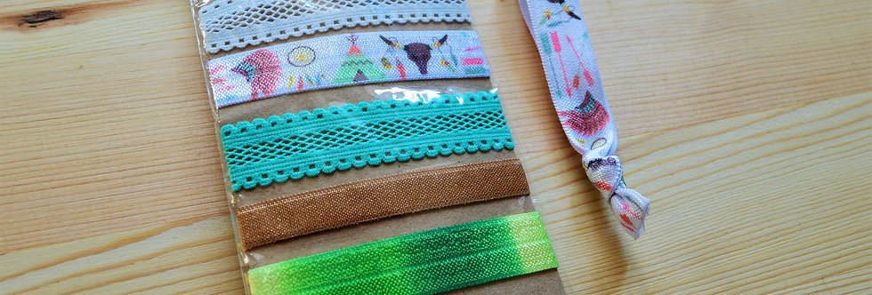 green boho hair ties