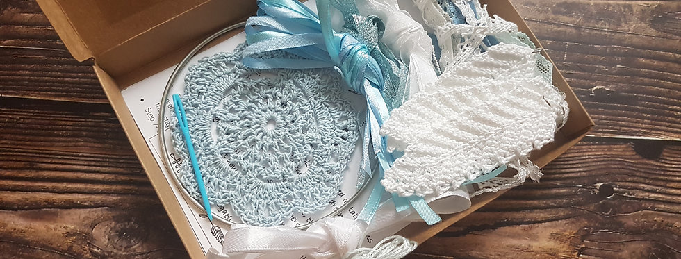 Light blue lace dreamcatcher DIY kit
