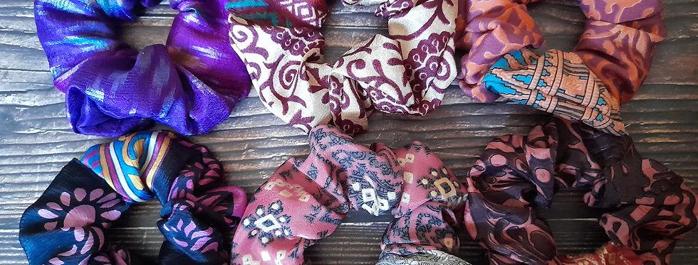 Pink and purple Sari silk scrunchies box
