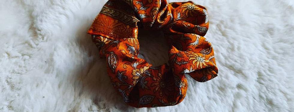 Mustard floral sari scrunchie
