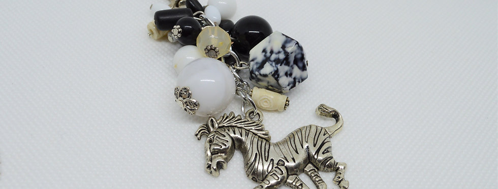 black and white zebra keychain
