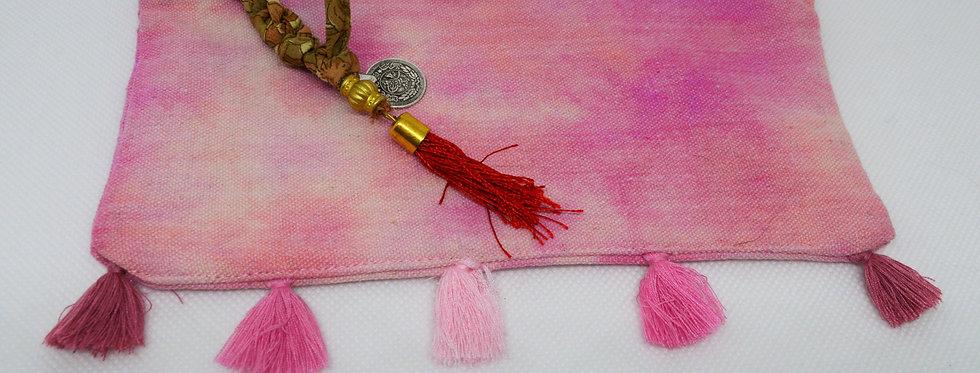 Pink and peach tassel makeup bag