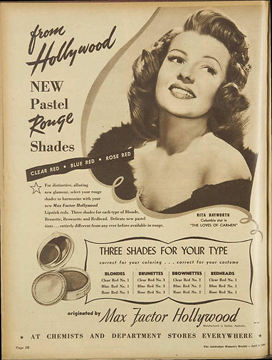 1949 advertisement for Max Factor Hollyw