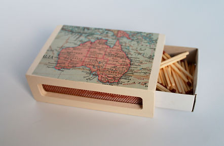 Wooden Matchbox Cover with World Atlas design