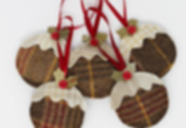Tweed Christmas Pudding Decoration
