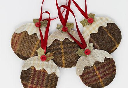 Tweed Christmas Pudding Decoration