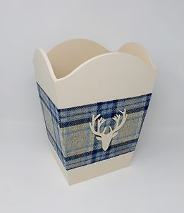 Wood & Tweed Waste Paper Baskets with wooden motif