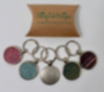 Metal Keyrings with Tweed inlay
