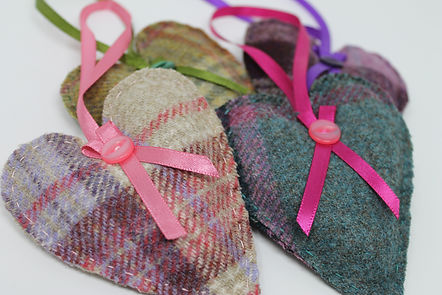 Tweed Lavender filled hearts