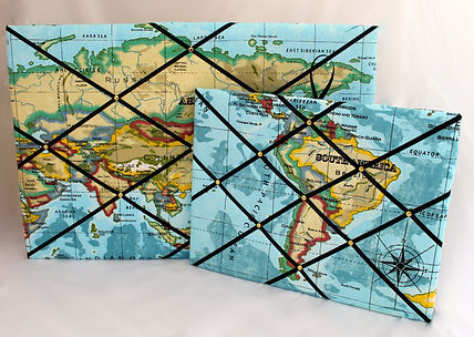 Fabric Noticeboard in World Map fabric