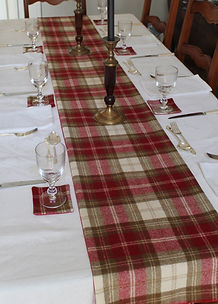 Christmas Table Runner in tweed and Coasters in red check tweed