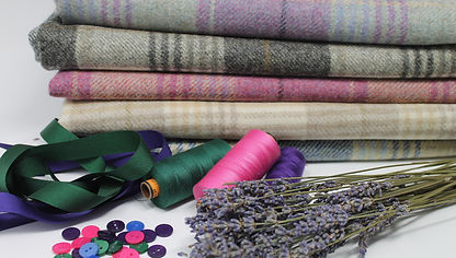 Dried Lavender, Cotton, buttons, tweed and ribbon used to make key rings and lavender bags