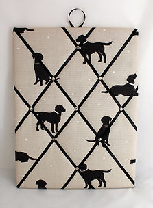 Fabric Noticeboard in Black Labrador Fabric