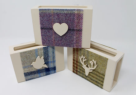 Wood & Tweed Matchbox Covers decorated with wooden motif. Fits Cooks matches.