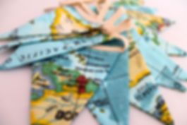 World Map Fabric bunting handmade