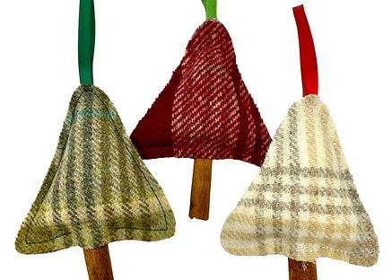 Small tweed Christmas tree decorations