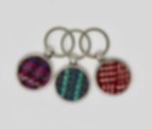 Metal Golf Ball Keyrings inlayed with Harris tweed
