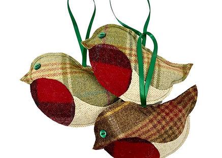 Handmade tweed Robin Decorations