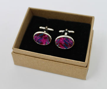 Silver cufflinks with Harris Tweed