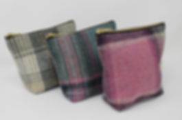 Tweed zipper bags in 3 colours