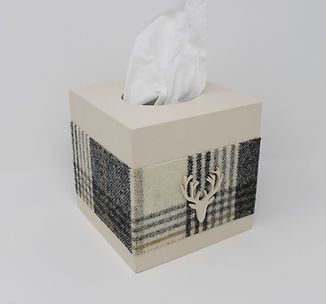 Wood & Tweed Tissue Box Covers in 4 Colours with Wooden Motif