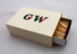 Personalised wooden matchbox cover hand painted with initials