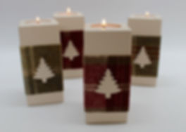 Wooden Christmas Tea Light Holders