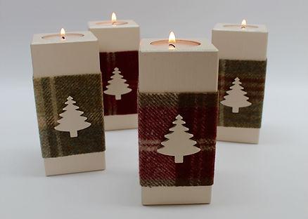 Wooden Christmas Tea Light Holders