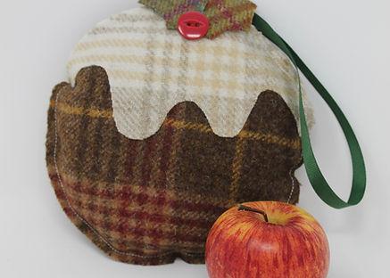 Handmade Tweed Christmas Pudding Decoration