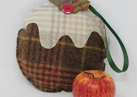 Handmade Tweed Christmas Pudding Decoration