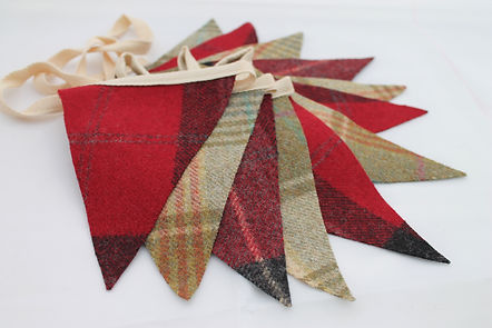 Tweed Bunting in Red & Green Abraham Moon Tweed